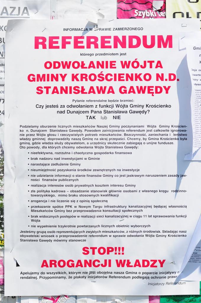 Referendum w sprawie odwołania Wójta Gminy Krościenko n/D